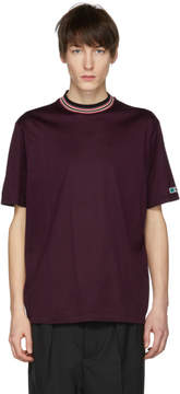 Lanvin Burgundy Contrast Mock Neck T-Shirt