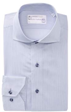 Lorenzo Uomo Textured Stripe Trim Fit Dress Shirt