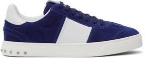Valentino Blue and White Garavani Flycrew Sneakers