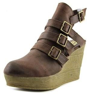 Sbicca Gomez Women Open Toe Synthetic Brown Wedge Heel.