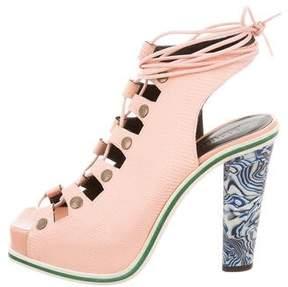 Rodarte 2015 Lace-Up Platform Sandals w/ Tags