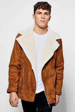 boohoo Faux Fur Lined Suedette Aviator Jacket