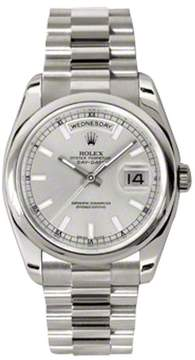 Rolex Day-Date Silver Dial 18K White Gold President Automatic Men's Watch