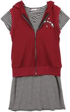 Speechless Girls 7-16 Hooded Vest & Striped Dress Set
