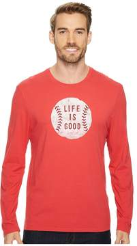 Life is Good Vintage Baseball Long Sleeve Smooth Tee Men's Short Sleeve Pullover