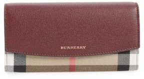Burberry Women's 'Porter - Check' Continental Wallet - Red - PURPLE - STYLE