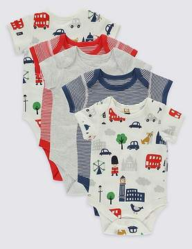 Marks and Spencer 5 Pack London Print Cotton Bodysuits