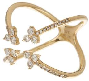 Ef Collection 14K Yellow Gold Inverted 4 Trio Diamond Ring - Size 5 - 0.12 ctw