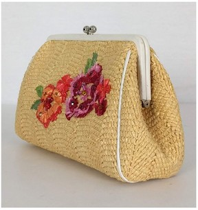 Christian Dior Straw Floral Small Clutch