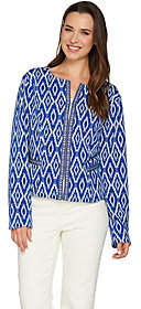 C. Wonder Cropped Woven Jacket with JacquardTrim Detail