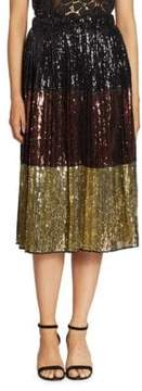 N°21 Metallic Sequined Colorblock Skirt