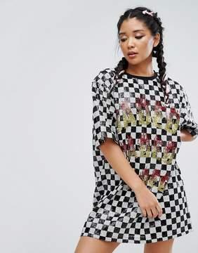 Jaded London Festival Sequin T-Shirt Dress In Checkerboard