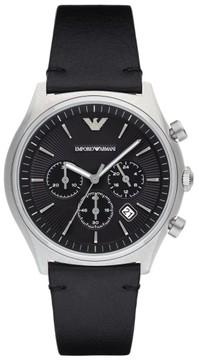 Emporio Armani Chronograph Leather Strap Watch, 43Mm