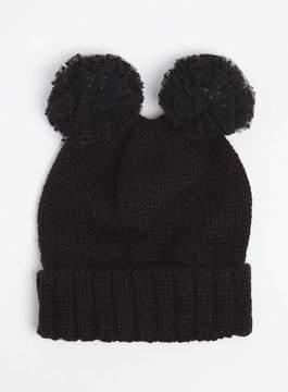 Dorothy Perkins Black Pom Pom Novelty Beanie Hat