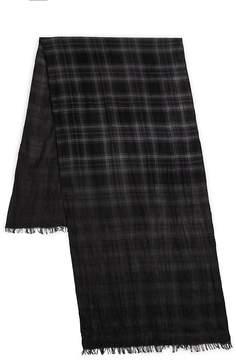 John Varvatos Men's Plaid Merino Wool Scarf