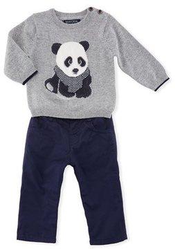Mayoral Panda Bear Sweater w/ Jersey Pants, Size 6-36 Months