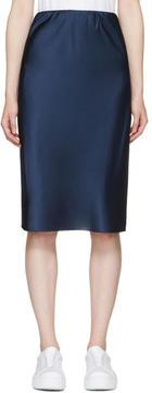 6397 Blue Silk Bias Cut Skirt