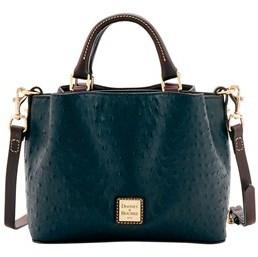 Dooney & Bourke Ostrich Mini Barlow Top Handle Bag. - BLACK - STYLE