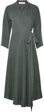 Apiece Apart Wild Waves Tencel And Linen-blend Wrap Midi Dress - Army green