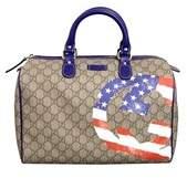 Gucci Beige Coated Canvas American Flag Joy Boston Bag. - BEIGE/AMERICAN FLAG - STYLE