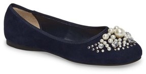 BP Women's Gracee Imitation Pearl Embellished Flat