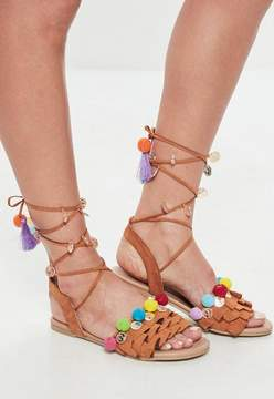 Missguided Tan pom pom rope lace up sandals