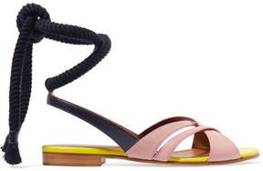 Malone Souliers Roksanda Marlene Color-block Leather Sandals - Midnight blue