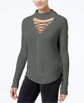 American Rag Juniors' Lace-Up Choker Sweater, Created for Macy's