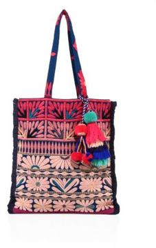 FIGUE Samoa Floral-Embroidered Canvas Tote