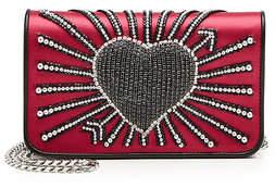 Les Petits Joueurs Ginny Heart Cupid Embellished Satin Shoulder Bag