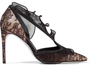 Rene Caovilla Embellished Lace, Satin And Plissé Organza Pumps - Black