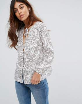 Goldie Printed Blouse With Neck Tie