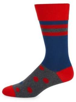 Bruno Magli Polka Dot & Stripe Socks