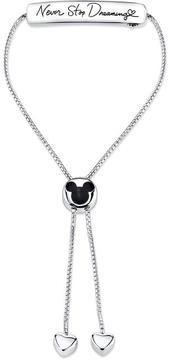 Disney Sterling Silver Never Stop Dreaming Mickey Mouse Bolo Slide Bracelet