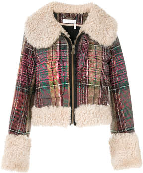 Chloé shearling trim checked jacket