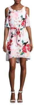 Donna Ricco Belted Floral Cold Shoulder Dress