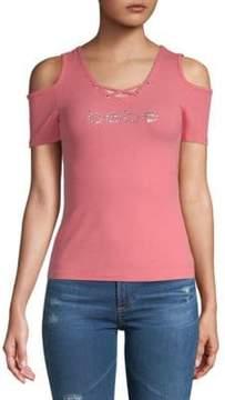 Bebe Logo Lace-Up Cold-Shoulder Top