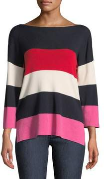 Neiman Marcus Cashmere-Blend Striped Boxy Sweater