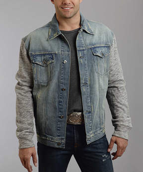 Stetson Blue Contrast-Sleeve Denim Jacket - Men's Regular