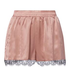 Fleur Du Mal Margot Lace Trim Rose Silk Shorts
