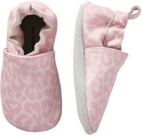 Joe Fresh Baby Girls' Leopard Leather Footlets, Pink (Size XL)