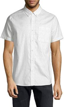 AG Adriano Goldschmied Men's Dotted Cotton Button-Down Shirt