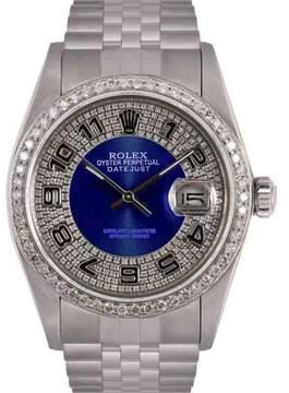 Rolex Datejust Stainless Steel Blue Diamond Bulls Eye Tuxedo Dial & Bezel 36mm Mens Watch