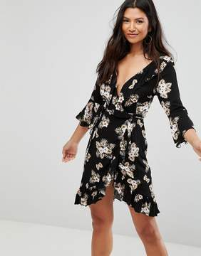 Club L 3/4 Sleeve Detailed Wrap Black Floral Day Dress