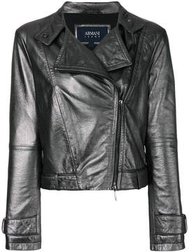 Armani Jeans high shine biker jacket