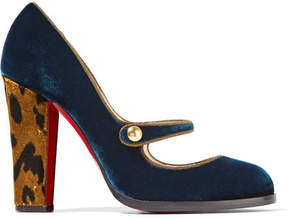 Christian Louboutin Top Street 100 Velvet Mary Jane Pumps - Storm blue