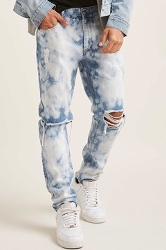 21men 21 MEN Acid Wash Distressed Jeans