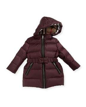 Burberry Consillia Hooded Puffer Jacket, Plum, Size 6M-3Y