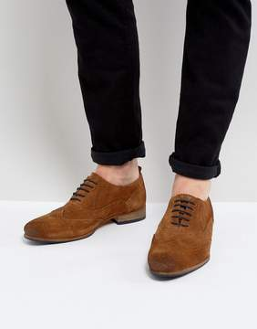 Asos Brogue Shoes In Tan Suede With Contrast Sole And Lace Detail