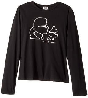Karl Lagerfeld Long Sleeve Choupette Silhouette Tee Girl's T Shirt